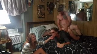 Amateur Milf Fucked By Tattooed Guy While His Young Sister Watches Smoking