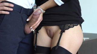 Amateur Milf Secretary In Stockings Handjob Boss Cums Part2